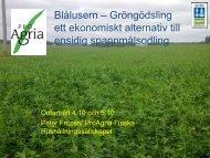 Gröngödsling, växtföljd och ekonomi - Peter Fritzén, FHS - Slf