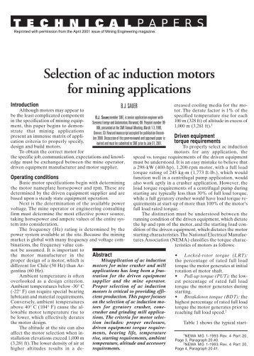 Selection of AC Induction Motors for Mining Applications - Siemens ...