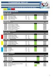 t75 badminton price list