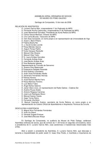 ASEMBLEA XERAL ORDINARIA DE SOCIOS DO MUSEO DO ...