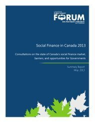 Social Finance in Canada 2013 - Public Policy Forum