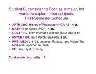 Student B, considering Econ as a major - College of Arts and Sciences