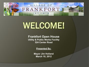 Water & Sewer - Village of Frankfort