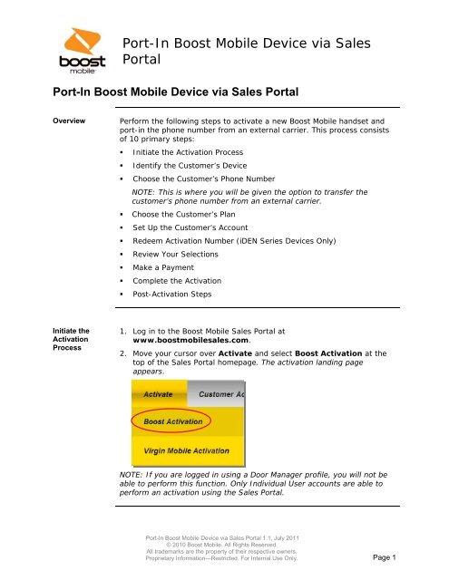 Port-In Boost Mobile Device via Sales Portal - Hyperlink