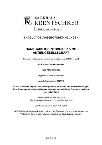 BANKHAUS KRENTSCHKER & CO AKTIENGESELLSCHAFT