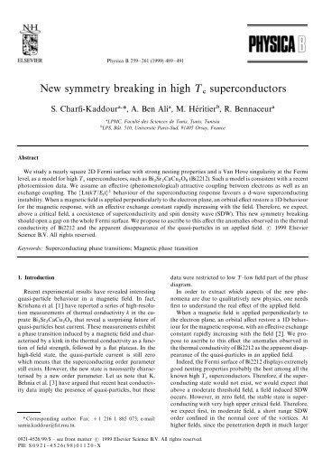 New symmetry breaking in high ¹ superconductors - Fst