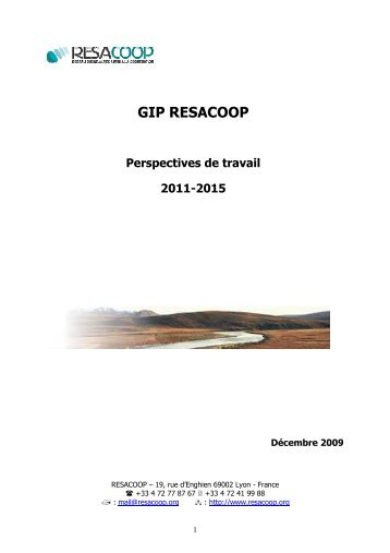 perspectives 2011-2015 - Resacoop