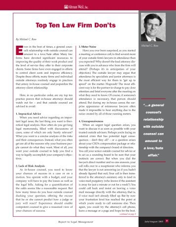 Top Ten Law Firm Don'ts - Altman Weil