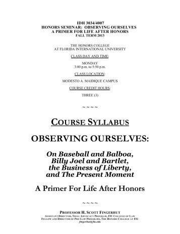 observing ourselves - Honors College - Florida International University