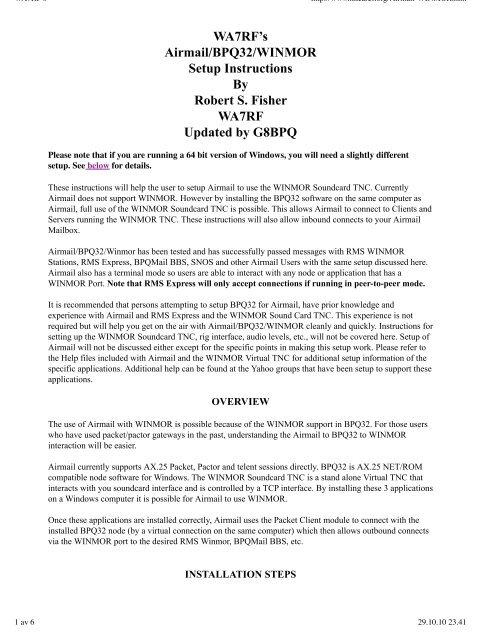 WA7RF's Airmail/BPQ32/WINMOR Setup Instructions By Robert S