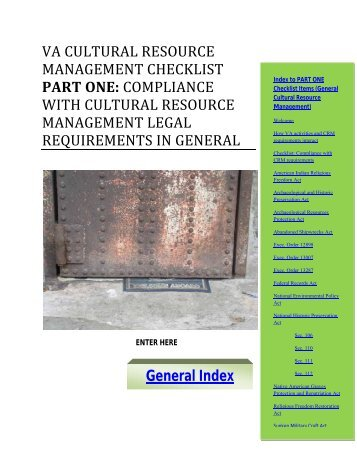 Cultural Resource Management Checklist - Office of Construction ...