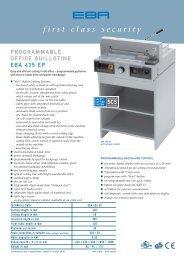 programmable office guillotine EBA 435 EP, PDF data sheet