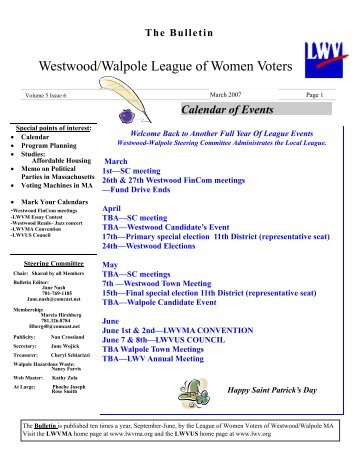 March 2007 Bulletin - The League of Women Voters Westwood