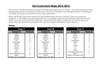 KS3 Curriculum Maps 2012-2013 - Forest Hill School