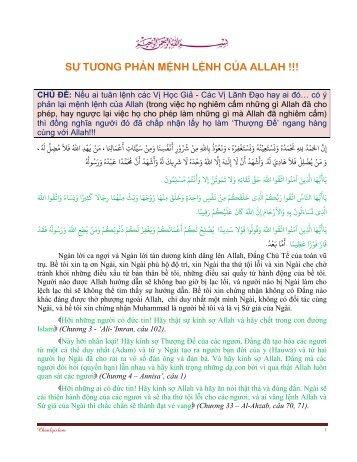SỰ TƯƠNG PHẢN MỆNH LỆNH CỦA ALLAH !!! - Chân Lý Islam