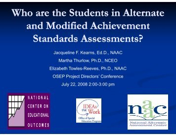 Who are the students in alternate and modified achievement ... - NAAC
