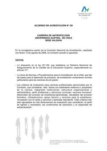 ACUERDO DE ACREDITACIÓN N° O9 CARRERA DE ...