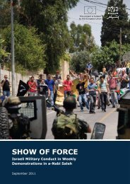 B'Tselem report, Show of Force: Israeli Military Conduct in Weekly ...