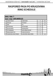 Raspored pasa po krugovima / Ring Schedule - HKS-a
