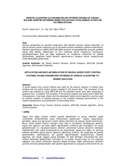 Genetik Algoritma Ä°le Parametreleri Optimize EdilmiÅŸ     - Figes