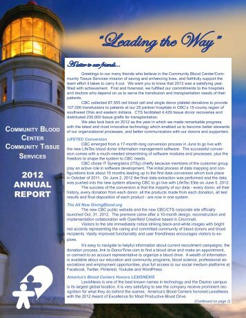 2012 Annual Report - Community Blood Center
