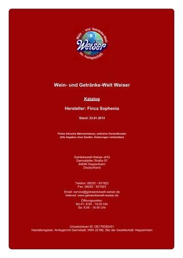 Katalog für Hersteller: Finca Sophenia - und Getränke-Welt Weiser
