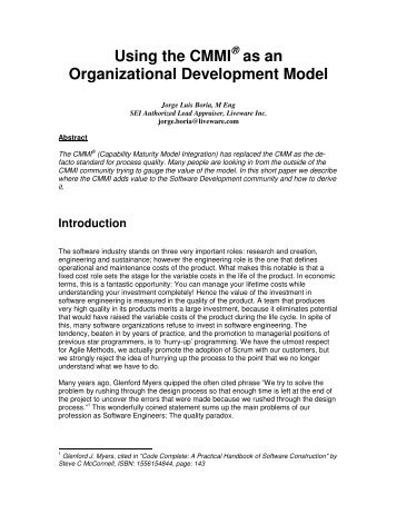 Using the CMMI as an Organizational Development Model