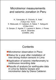 Microtremor Measurements and Seismic Zoning in Peru