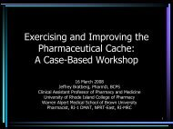 Exercising and Improving the Pharmaceutical Cache: A Case-Based ...