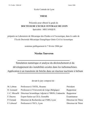 Nicolas Tauveron Simulation numérique et analyse du ...
