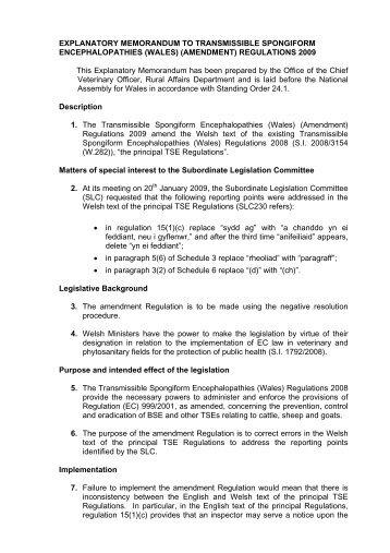 REGULATORY APPRAISAL - Cynulliad Cenedlaethol Cymru