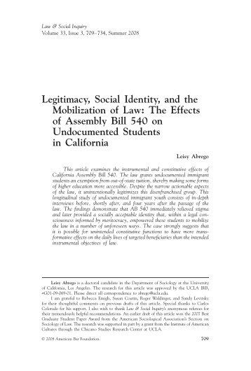 Legitimacy, Social Identity, and the Mobilization of Law: The Effects ...