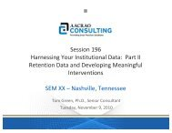Harnessing Your Institutional Data Beyond First-Year ... - AACRAO