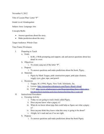 """November 9, 2012 Title of Lesson Plan: Letter """"P"""" Grade Level ..."""