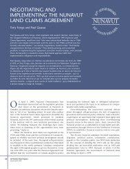 Negotiating and implementing the Nunavut Land Claims Agreement