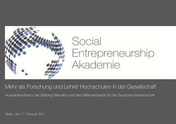 Social Entrepreneurship Akademie - Stifterverband für die Deutsche ...