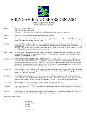Milngavie & B Mini Graded Meet (20/10/13) - Swim Scotland