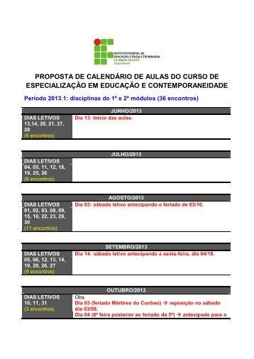 Calendário de Aulas 2013.1 - Ifrn