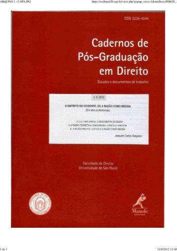 Nº 9, 2012 - Faculdade de Direito - Universidade de São Paulo - USP