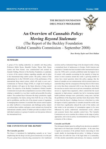 An Overview of Cannabis Policy: Moving Beyond Stalemate