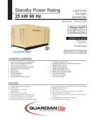25KW Spec Sheet - Generac Parts