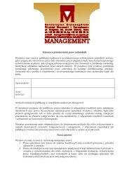 Umowa o przeniesienie praw autorskich - Versita