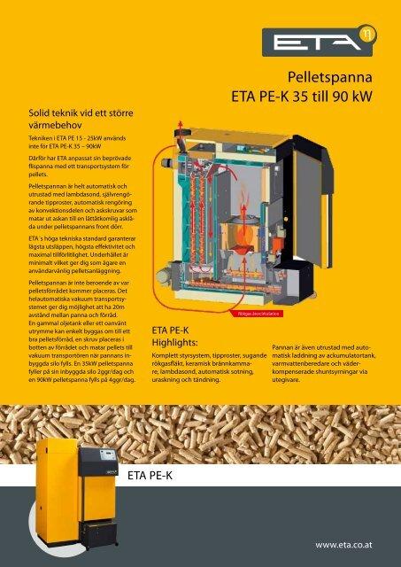 Pelletspanna ETA PE-K 35 till 90 kW - Biovärme Sverige AB