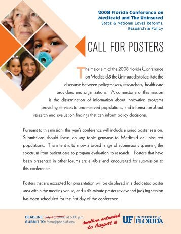 CALL FOR POSTERS - Florida Center for Medicaid and the Uninsured