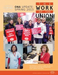 ONA update: sprinG 2013 - Ontario Nurses' Association