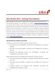 2012 Nine Months Results Press Release - UBA Plc