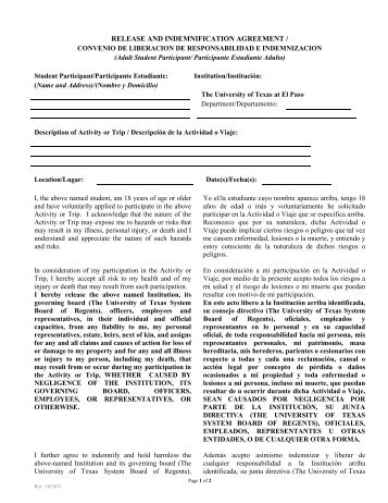 release and indemnification agreement - University of Texas at El ...