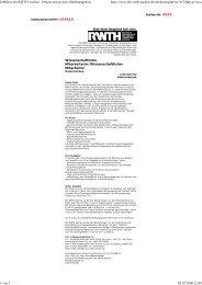 Jobbörse der RWTH Aachen - Druckversion eines Stellenangebots