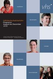 VolkshochschuleIserlohn : Programm August bis Dezember 2010