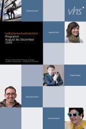 VolkshochschuleIserlohn : Programm August bis Dezember 2009